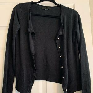 Black cardigan with pearl buttons